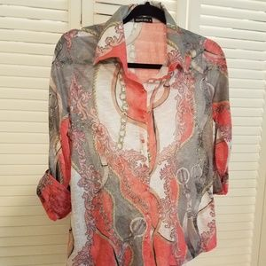 David Klein snap-front collared shirt with 3/4 sl